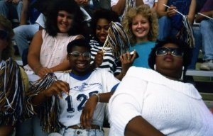 A group of us from the dorm at a college football game.  Virlinda is in the front row, on the left.